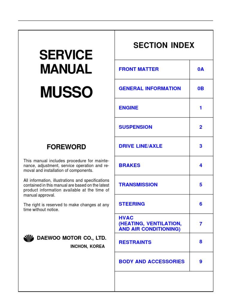 service manual musso internal combustion engine leak rh scribd com Daewoo Tacuma ssangyong musso electrical diagram