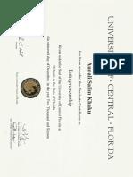 Aunali Khaku Certificate in Enterprenneurship UCF University of Central Florida