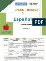 Plan 2do Grado - Bloque 5 Español