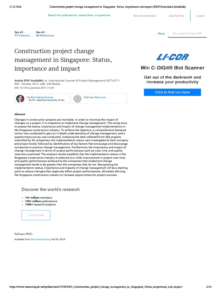 Construction project change management in Singapore: Status