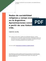 Gabriel Levita (2007). Redes de Sociabilidad Religiosa y Campo Economico en La Argentina. Aproximaciones Conceptuales a Partir de Una His (..)