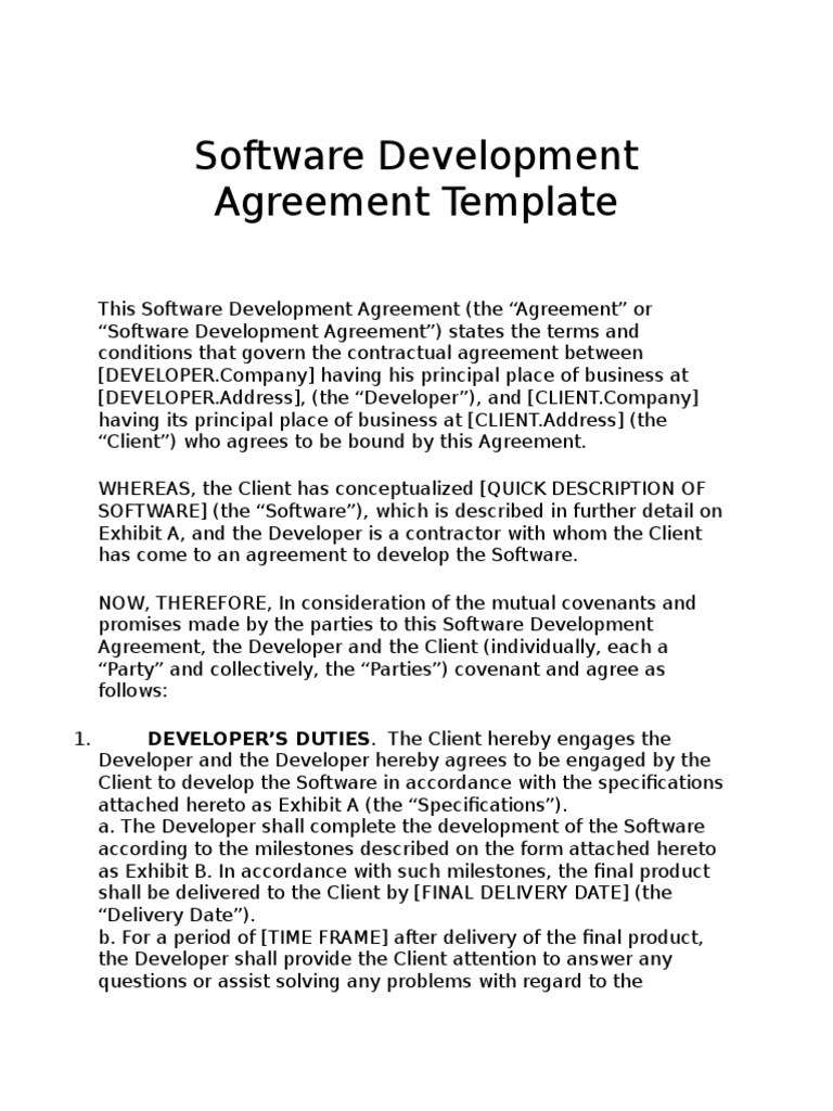 Software Development Agreement Template | Intellectual Property ...