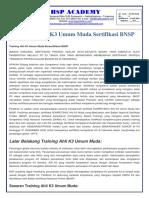 trainingk3l.com - Training Ahli K3 Umum Muda Sertifikasi BNSP
