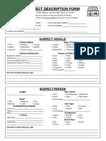 Suspect Description Form
