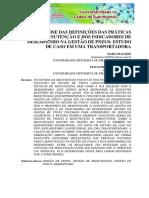 Uma Análise Das Definições Das Práticas de Manutenção e Dos Indicadores de Desempenho Na Gestão de Pneus Estudo de Caso Em Uma Transportadora