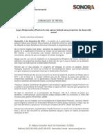 04/12/16 Logra Gobernadora Pavlovich Más Apoyo Federal Para Proyectos de Desarrollo Social -C. 121619