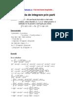 Metoda de Integrare Prin Parti