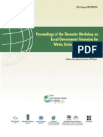 Proceedings of the Thematic Workshop on Local Government Financing for Water, Sewage and Sanitation