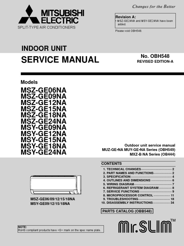 Mitsubishi Msz Wiring Diagram Complete Diagrams Mini Truck Msy Ge06 24na Service Obh548a 9 10 Power Supply Air Conditioning Rh Scribd Com Eclipse Stereo