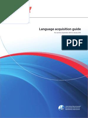 Language Acquisition Guide | Interdisciplinarity | Curriculum