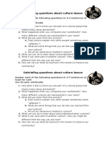 Debriefing Questions About Culture Lesson
