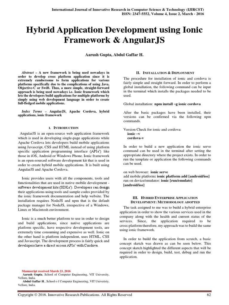 Hybrid Application Development Using Ionic Framework
