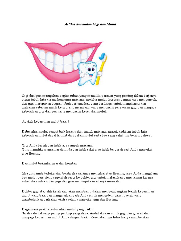 Artikel Kesehatan Gigi Dan Mulut