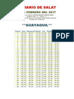 Horarios de Salats FEBRERO 2017 Ecuador