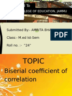 Biserial coefficient of correlation By