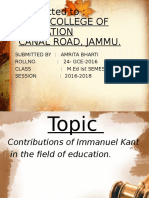 Contributions of Immanuel Kant  in the field of education By