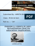 Maslow's Theory of Self-Actualization And its education implication By