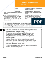 DS700 Carer Alllowance Claim Form