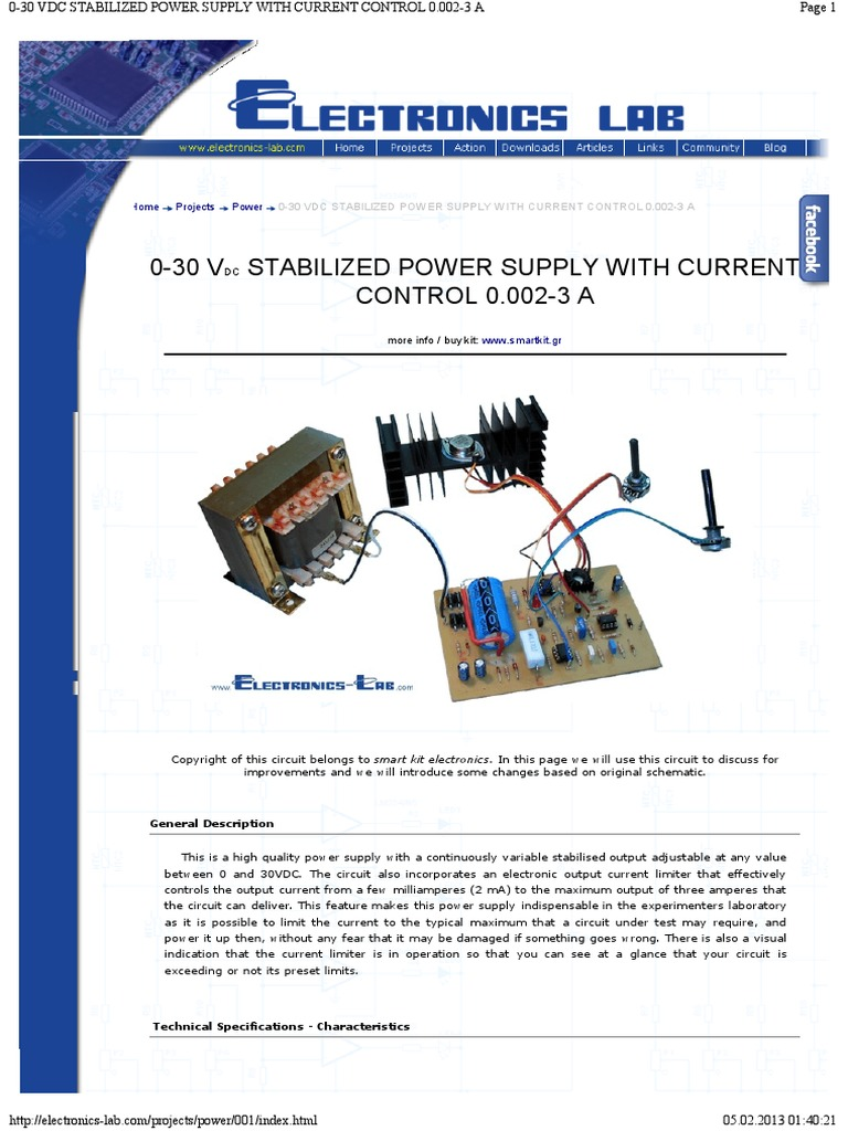 0 30 Vdc Stabilized Power Supply With Current Control 0002 3 A An Add On Limiter For Your Psu Mains Electricity