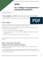 Forma de Pagar e Códigos de Pagamento - Contribuinte Individual_Facultativo - Previdência Social - Previdência Social