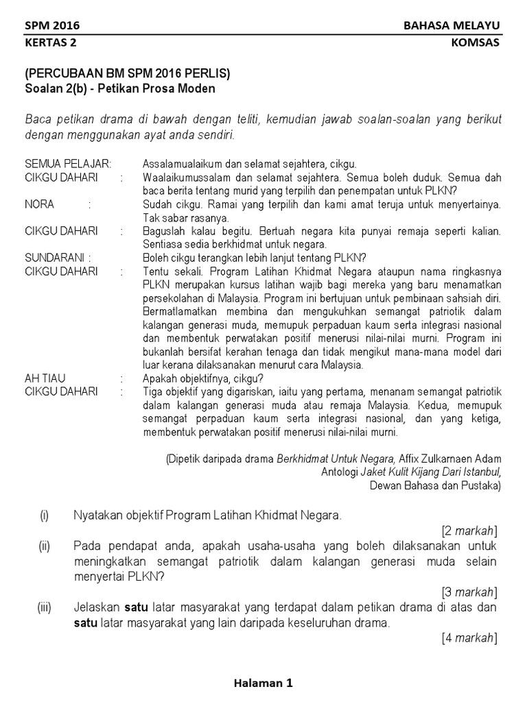 Koleksi Soalan Komsas 2 B Percubaan Spm 2016 Se Malaysia