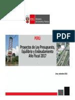 Proyecto Ley Presupuesto Rquilibrio Endeudamiento 2017