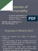 Klein's Object Relation Theory - Castillo, John Nathaniel Co