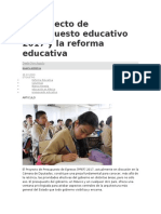 El Proyecto de Presupuesto Educativo 2017 y La Reforma Educativa