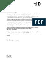 Letter to Parents Regarding Lead Testing
