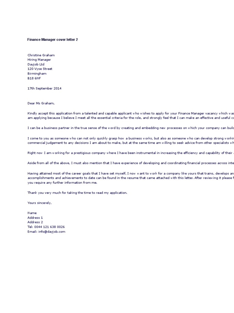 Find Awesome Cover Letter Financial Manager  You Must Know