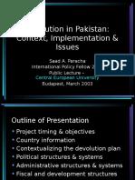 Devolution in Pakistan