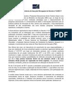 Carta Aberta pela Revogação do Decreto nº 8.956/2017