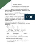 Calorimetry Worksheet