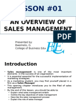 Lesson 1; An Overview of Sales Management