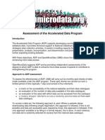 Assessment of the Accelerated Data Program July 2010