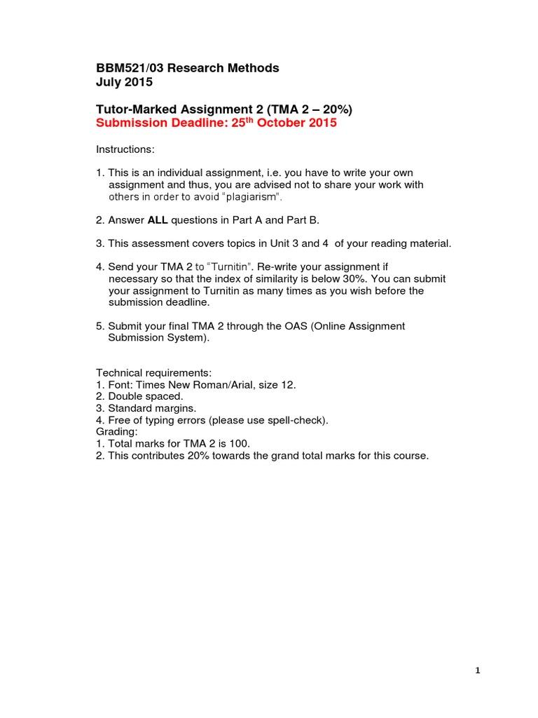 BBM521 tma 2 pdf   Turnitin   Sampling (Statistics)