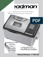 Breadman Manual TR2700