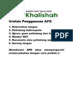 Urutan Penggunaan APD
