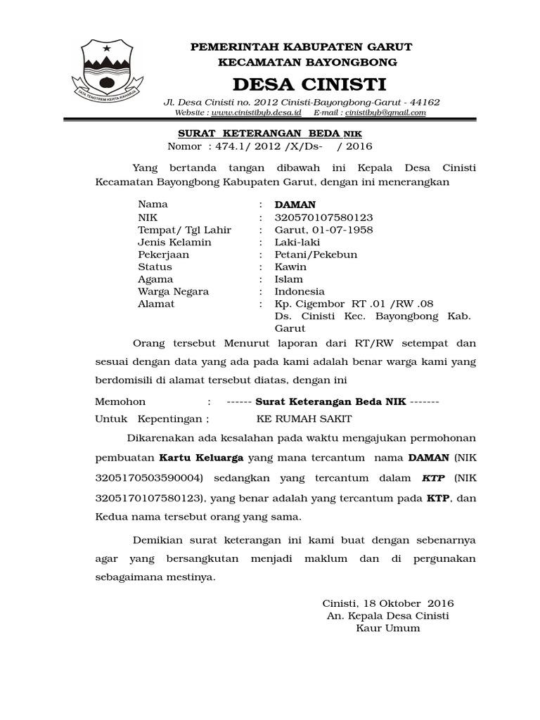 Surat Keterangan Beda Nik Ktp Dan Kk - Kumpulan Surat Penting