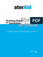 Drinking Water Sanitation Status Coverage Financing Concerns India