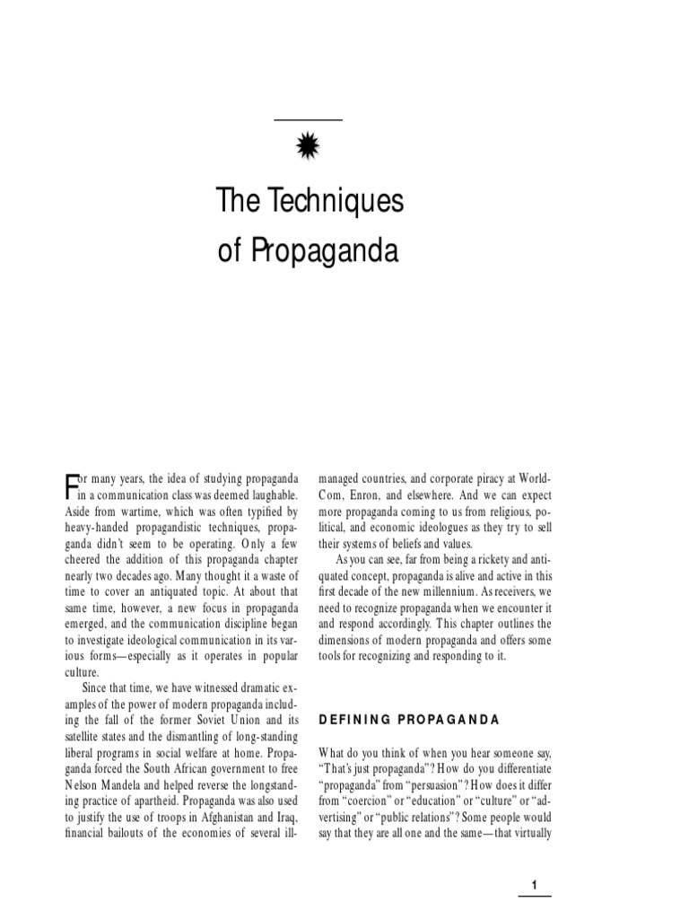 The Techniques Of Propaganda Propaganda Advertising