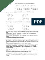 Ficha Ejercicios de Sistemas de Ecuaciones Lineales