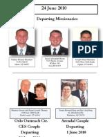 Arriving and Departing Missionaries - June 2010
