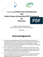 Financing Infrastructure Development and Public- Private Partnership (PPP) Framework for Myanmar
