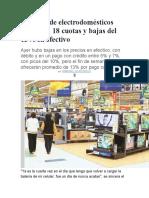 Cadenas de Electrodomésticos Ofrecerán 18 Cuotas y Bajas Del 13
