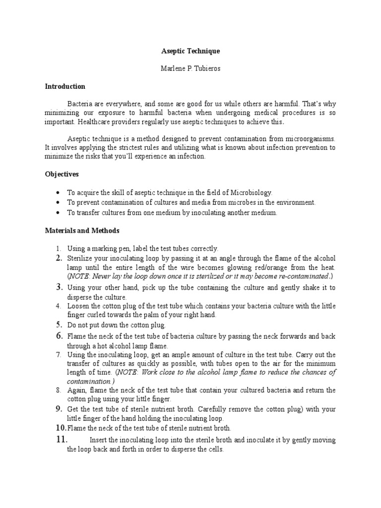 aseptic techniques microbiology report What is aseptic technique and why is it important in microbiology microbiology is the study of aseptic technique must be used in microbiology.