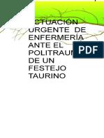 Actuacion Urgente de Enfermeria Ante El Politrauma de Un Festejo Taurino