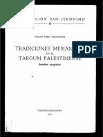 Miguel Perez Fernandez, Tradiciones Mesianicas en El Targum Palestinense