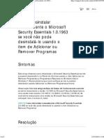 Como Desinstalar Manualmente o Microsoft Security Essentials 1.0.1963 Se Você Não Pode Desinstalá-lo Usando o Item de Adicionar Ou Remover Programas