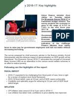 Economic Survey 2016-17_ Key Highlights